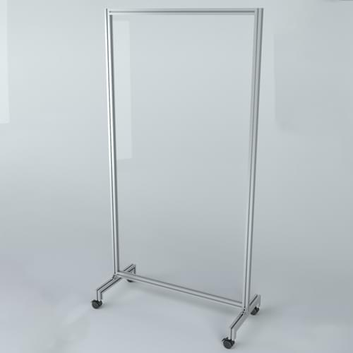 Free-standing PPE Hygiene Divider Screen with Castor Wheels 800 x 500 x 2000mm
