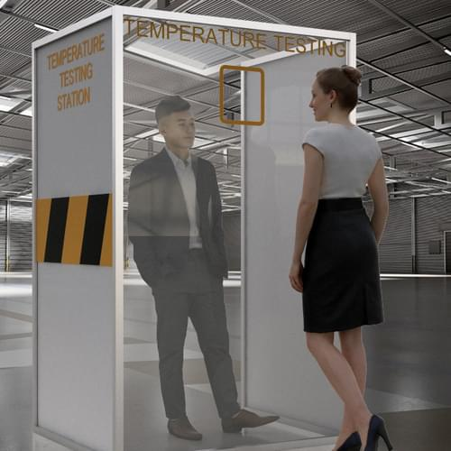 Free-standing PPE Temperature Testing Station with Thermometer Hole - 1000 x 600 x 2000mm
