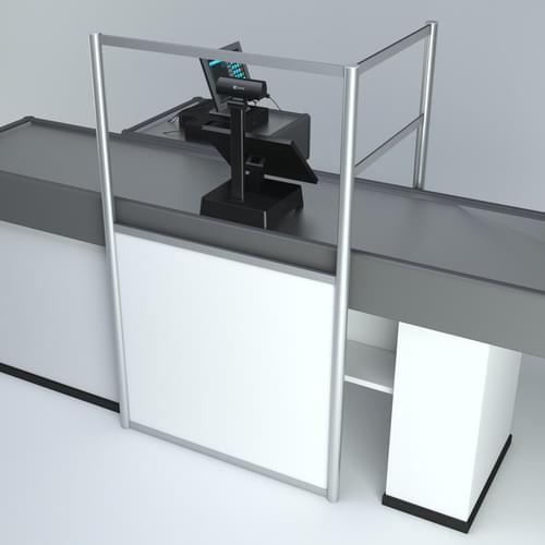 Free-standing PPE Hygiene Divider Screen for Supermarket Till Retail Use 1200 x 700 x 1800mm