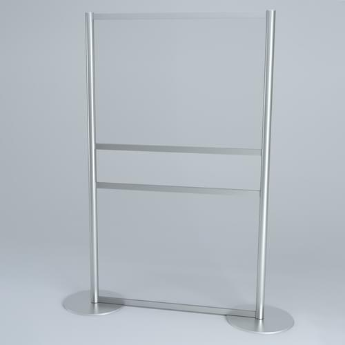 Free-standing PPE Hygiene Divider Screen with Round Base and Document Transfer Slot 1200 x 2000mm