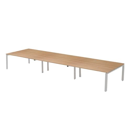 Adapt rectangular boardroom table 3600mm x 1200mm - silver frame and beech top