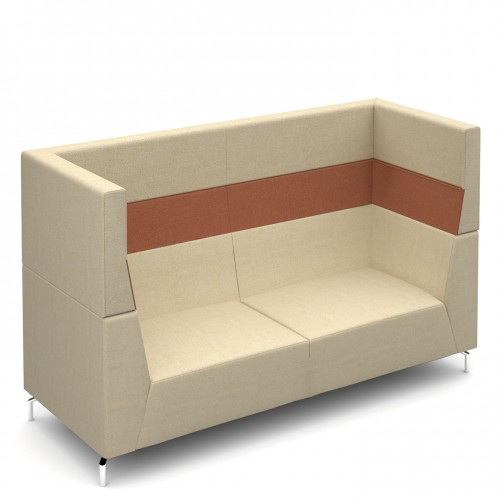 Alban High back three seater sofa with chrome legs - made to order