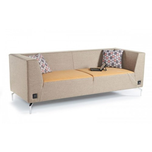 Alban low back two seater sofa with chrome legs - made to order