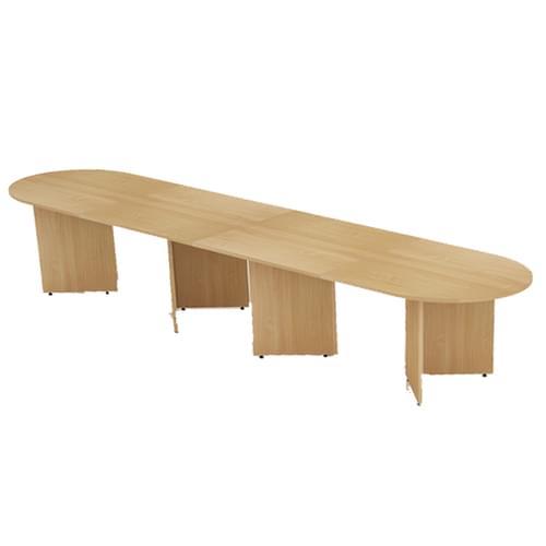 Arrow head leg radial end boardroom table 4000mm x 1000mm - Oak