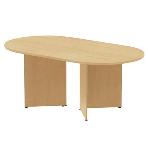 Arrow head leg radial end boardroom table 2000mm x 1000mm - Oak