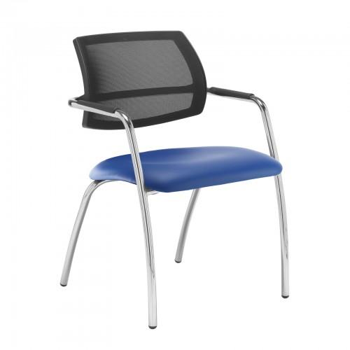 Tuba Chrome 4 Leg Frame Conference Chair With Mesh Back