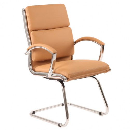 Classic Leather Cantilever Chair Tan With Arms