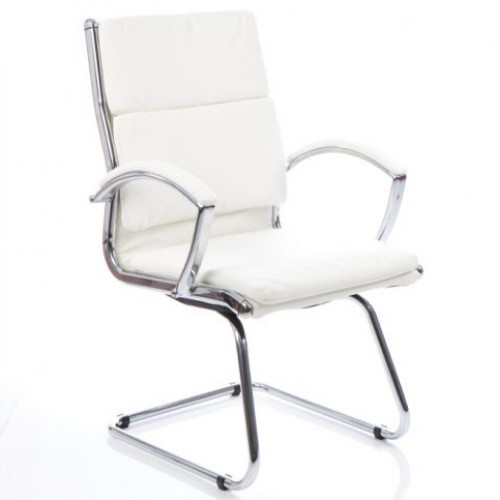 Classic Leather Cantilever Chair White With Arms