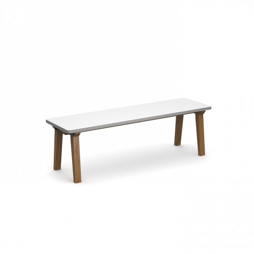 Crew dining bench 1400mm with solid ash leg frame and 25mm white mdf top