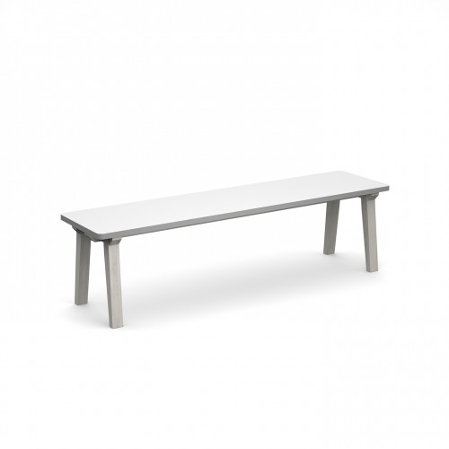 Crew dining bench 1600mm with solid ash leg frame and 25mm white mdf top