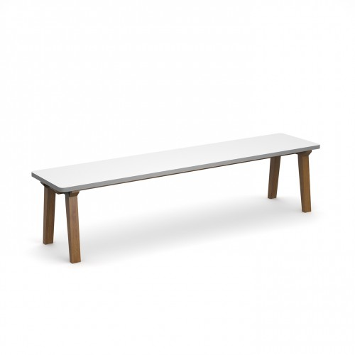 Crew dining bench 1800mm with solid ash leg frame and 25mm white mdf top