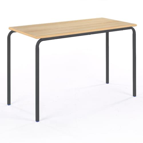 Metalliform Standard Classroom Crushed Bent Rectangular MDF Edge 1100mm Table - 530mm High - Beech and Black