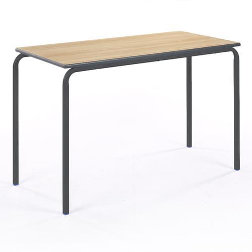 Metalliform Standard Classroom Crushed Bent Rectangular PU Edge 1100mm Table - 530mm High - Beech and Black