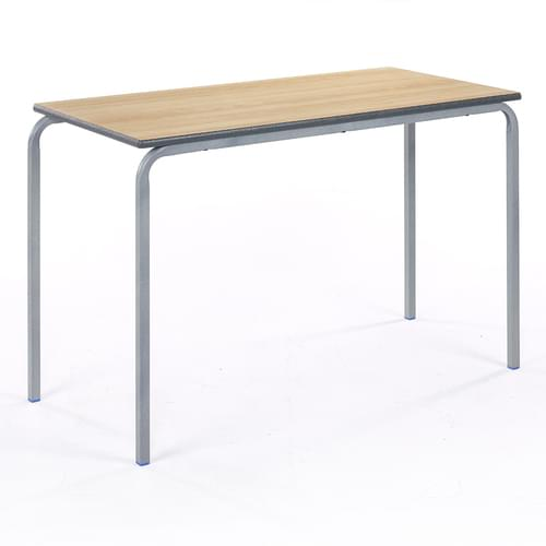 Metalliform Standard Classroom Crushed Bent Rectangular PU Edge 1100mm Table - 640mm High - Beech and Grey