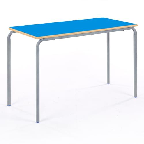 Metalliform Standard Classroom Crushed Bent Rectangular MDF Edge 1100mm Table - 530mm High - Blue and Grey