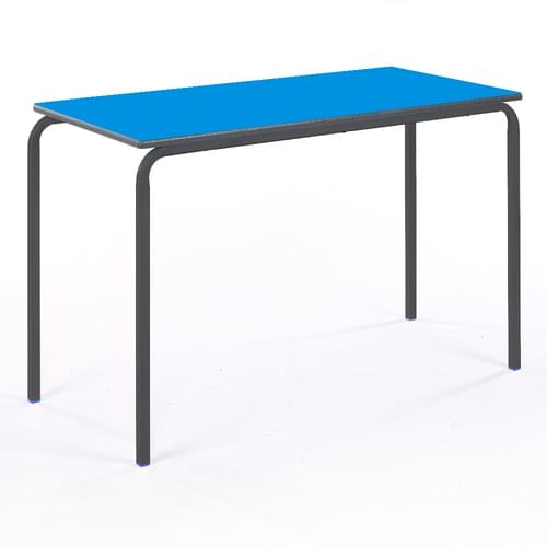 Metalliform Standard Classroom Crushed Bent Rectangular PU Edge 1100mm Table - 530mm High - Blue and Black