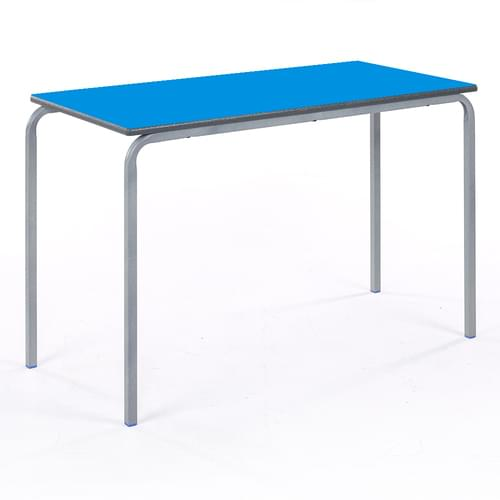 Metalliform Standard Classroom Crushed Bent Rectangular PU Edge 1100mm Table - 530mm High - Blue and Grey
