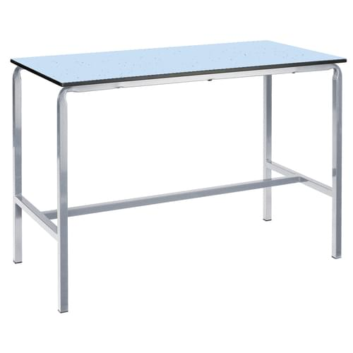 Metalliform Crushed Bent School Craft and Science Table - 1500 x 750mm - Speckled Icey Blue 900mm High