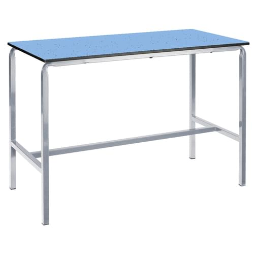 Metalliform Crushed Bent School Craft and Science Table - 1200 x 750mm - Speckled Powder Blue 950mm High