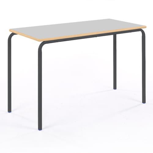 Metalliform Standard Classroom Crushed Bent Rectangular MDF Edge 1100mm Table - 640mm High - Light Grey and Black