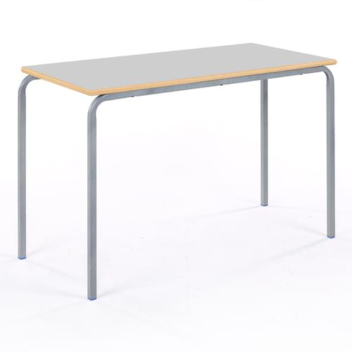 Metalliform Standard Classroom Crushed Bent Rectangular MDF Edge 1100mm Table - 640mm High - Light Grey and Grey