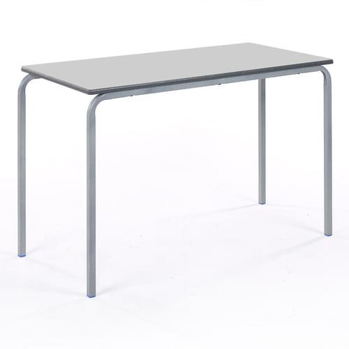 Metalliform Standard Classroom Crushed Bent Rectangular PU Edge 1100mm Table - 640mm High - Light Grey and Grey