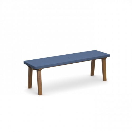 Crew upholstered dining bench 1400mm with three buttons and solid ash legs - made to order