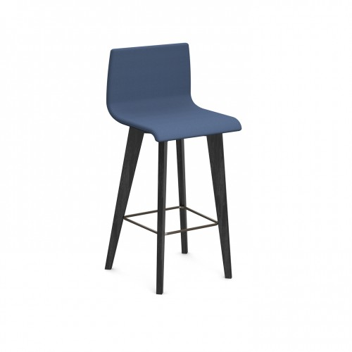 Crew upholstered high stool with back and solid ash legs - made to order