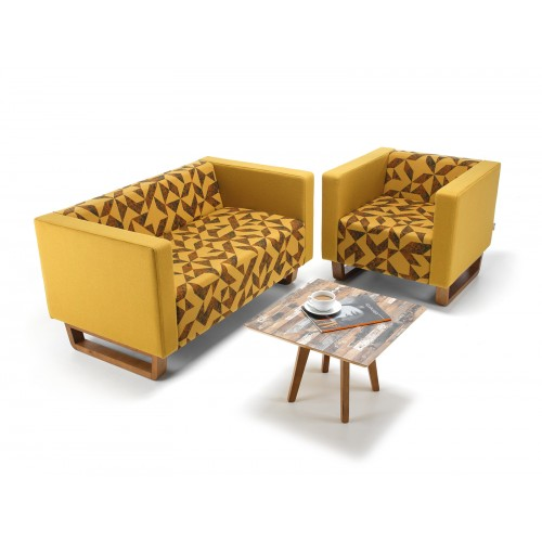 Cleo single seater sofa with solid oak sleigh design base - made to order