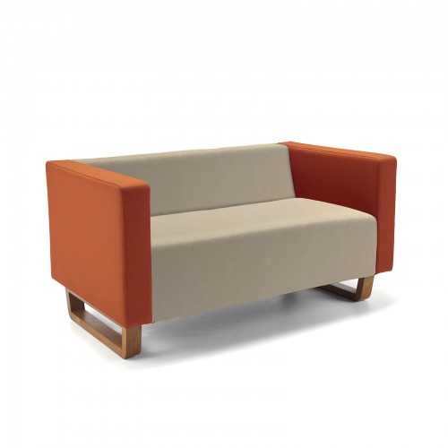 Cleo two seater sofa with solid oak sleigh design base - made to order