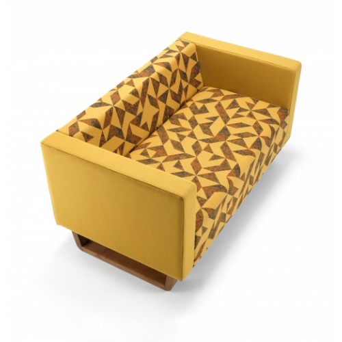 Cleo three seater sofa with solid oak sleigh design base - made to order