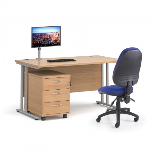 Bundle deal - Maestro 25 straight 1400mm desk in beech with silver frame/ 3 drawer pedestal/ Luna silver monitor arm and Vantage V100 chair in blue