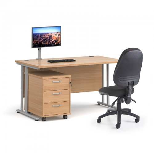Bundle deal - Maestro 25 straight 1400mm desk in beech with silver frame/ 3 drawer pedestal/ Luna silver monitor arm and Vantage V100 chair in charcoa