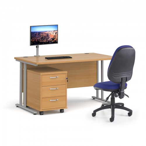 Bundle deal - Maestro 25 straight 1400mm desk in oak with silver frame/ 3 drawer pedestal/ Luna silver monitor arm and Vantage V100 chair in blue