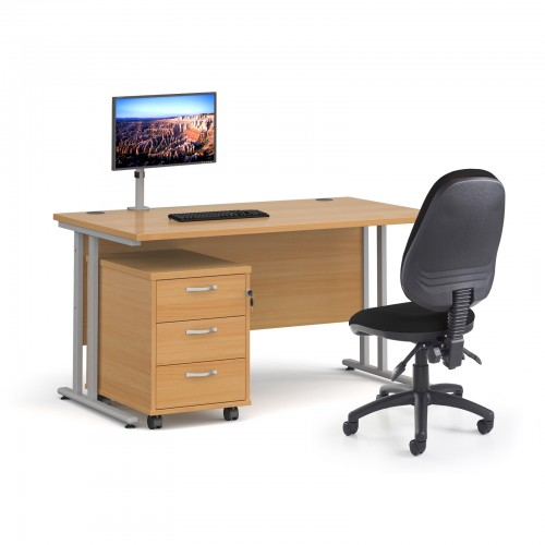 Bundle deal - Maestro 25 straight 1400mm desk in oak with silver frame/ 3 drawer pedestal/ Luna silver monitor arm and Vantage V100 chair in black