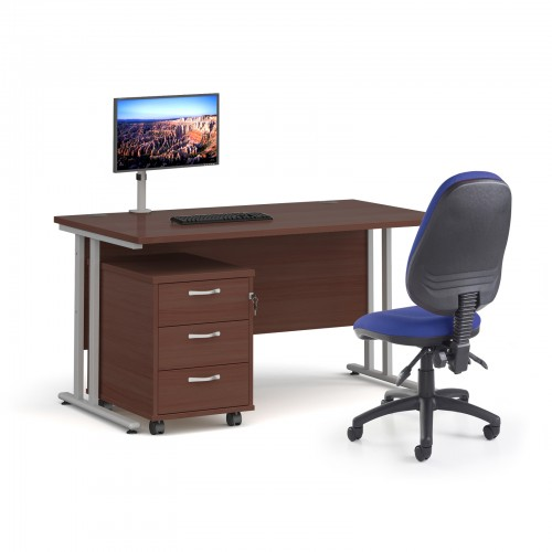 Bundle deal - Maestro 25 straight 1400mm desk in walnut with silver frame/ 3 drawer pedestal/ Luna silver monitor arm and Vantage V100 chair in blue