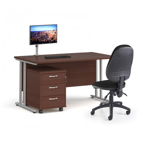 Bundle deal - Maestro 25 straight 1400mm desk in walnut with silver frame/ 3 drawer pedestal/ Luna silver monitor arm and Vantage V100 chair in black
