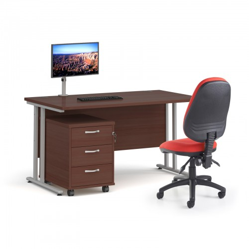 Bundle deal - Maestro 25 straight 1400mm desk in walnut with silver frame/ 3 drawer pedestal/ Luna silver monitor arm and Vantage V100 chair in red