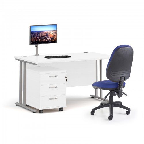 Bundle deal - Maestro 25 straight 1400mm desk in white with silver frame/ 3 drawer pedestal/ Luna silver monitor arm and Vantage V100 chair in blue