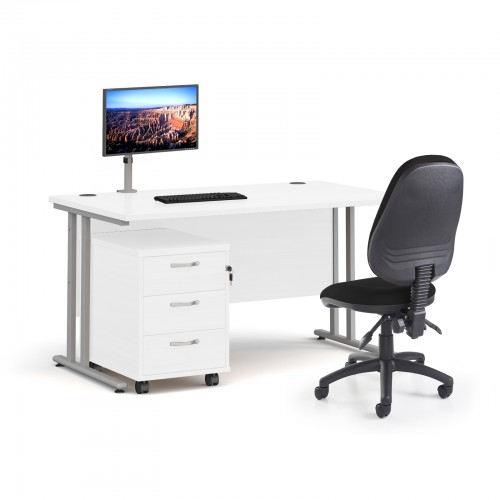 Bundle deal - Maestro 25 straight 1400mm desk in white with silver frame/ 3 drawer pedestal/ Luna silver monitor arm and Vantage V100 chair in black