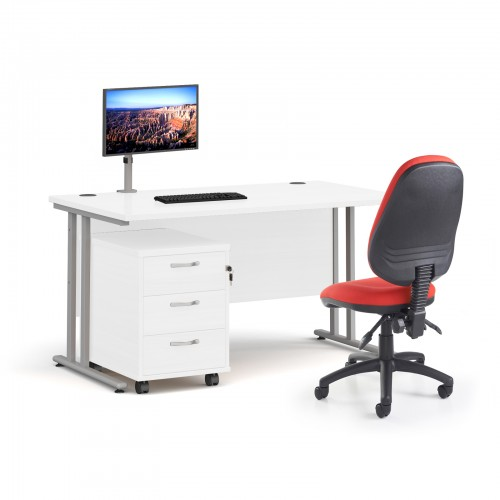 Bundle deal - Maestro 25 straight 1400mm desk in white with silver frame/ 3 drawer pedestal/ Luna silver monitor arm and Vantage V100 chair in red