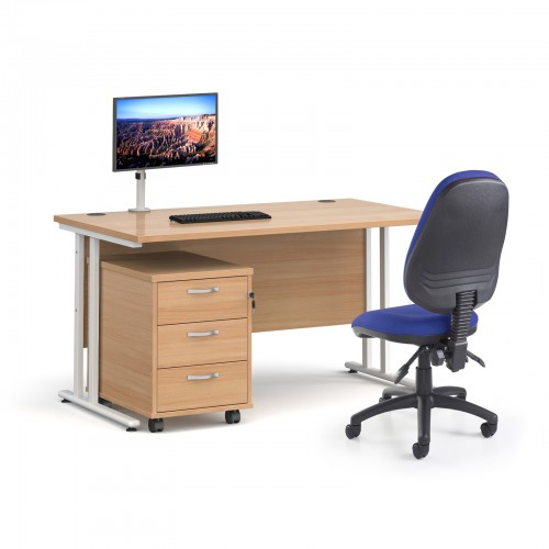 Bundle deal - Maestro 25 straight 1400mm desk in beech with white frame/ 3 drawer pedestal/ Luna white monitor arm and Vantage V100 chair in blue