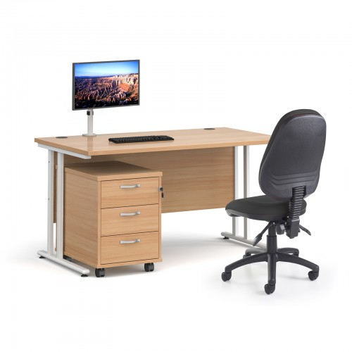 Bundle deal - Maestro 25 straight 1400mm desk in beech with white frame/ 3 drawer pedestal/ Luna white monitor arm and Vantage V100 chair in charcoal