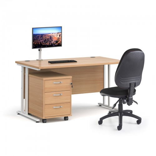 Bundle deal - Maestro 25 straight 1400mm desk in beech with white frame/ 3 drawer pedestal/ Luna white monitor arm and Vantage V100 chair in black