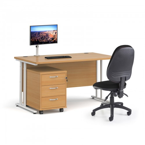 Bundle deal - Maestro 25 straight 1400mm desk in oak with white frame/ 3 drawer pedestal/ Luna white monitor arm and Vantage V100 chair in black