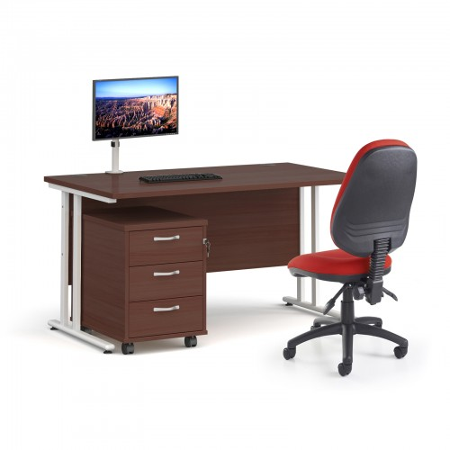 Bundle deal - Maestro 25 straight 1400mm desk in walnut with white frame/ 3 drawer pedestal/ Luna white monitor arm and Vantage V100 chair in burgundy