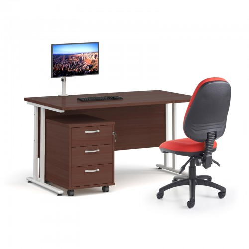Bundle deal - Maestro 25 straight 1400mm desk in walnut with white frame/ 3 drawer pedestal/ Luna white monitor arm and Vantage V100 chair in red
