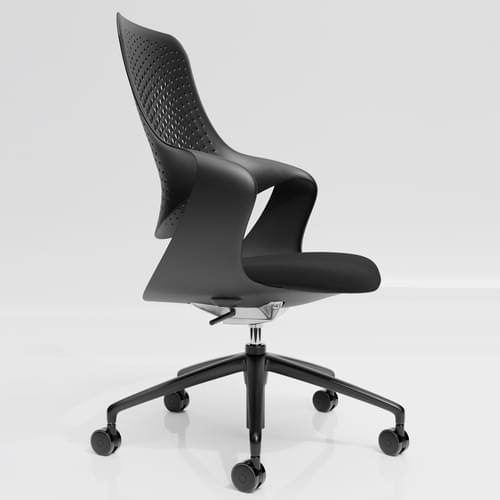 Coza Task Chair with Black Polymer Shell and Black Upholstered Seat - Black Base