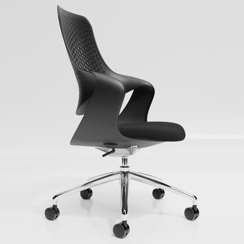 Coza Task Chair with Black Polymer Shell and Black Upholstered Seat - Chrome Base
