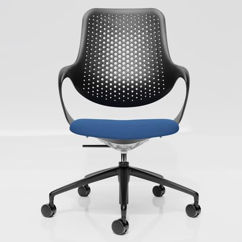 Coza Task Chair with Black Polymer Shell and Blue Upholstered Seat - Black Base
